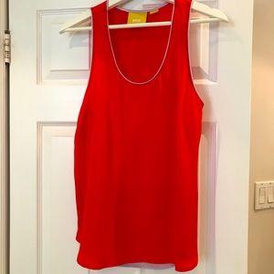 Anthropology MAEVE sleeveless silk  red blouse